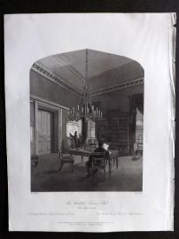 London Interiors 1841 Antique Print. The United Service Club. The Map Room